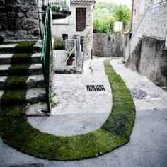 Check out this cool 1377 ft. grass pathway through the French village of Jaujac.