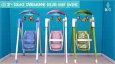 (3) 3T4 Solace Snugabunny Deluxe Baby Swing[[MORE]]Details: • Kids | Kid Decorations | Set of 3 • §60 Designs: • Blue & White • Pink & White • Green & White *Notes* Inspired by budgie2budgie's The...