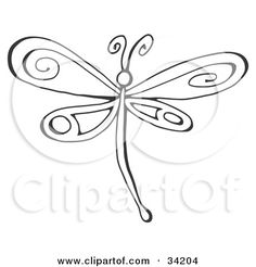 Clipart Illustration of a Black And White Dragonfly With Pretty Designs On Its Wings by C Charley-Franzwa