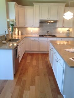 Kitchen - love the grey subway tile with white grout. Yes!!! Love love love!!! The grey subway time is just gorgeous.