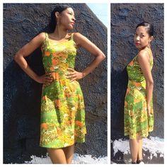 "VINTAGE 70s Disco Dress Starburst bright floral brook scenery, amazing fit with triple strap feature (very sturdy).  Length: (shoulder 2 hem) 37"", Bust: 32"", Waist: 26"" Vintage Dresses Midi"