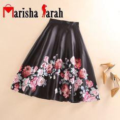 Spring Summer Autumn Women Fashion Black With Floral Printed Skater Skirt Mid-Calf Casual High Waist Pleated Skirts saia longa