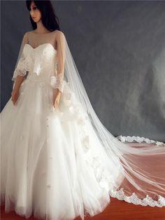 White Ivory Wedding Bolero Bridal Jacket Wrap Cape Lace Edge Wrap Shrug Shawl…