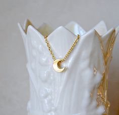 Gold moon necklace - gold crescent moon - moon charm - moon pendant - tiny moon - simple classic jewelry - April