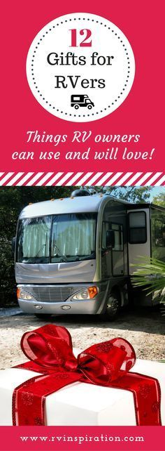 Wondering what to give as a Christmas, birthday, housewarming gift for someone who lives in or recently purchased a travel trailer or motorhome? It can be tough to find something affordable that RV owners need and want but don't already own, especially i Gifts For Rv Owners, Rv Gifts, Rv Travel, Family Travel, Travel Tips, Motorhome Living, Diy Rv, Rv Storage, Rv Living
