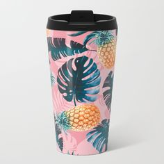 Pineapple and Leaf Pattern Travel Mug by Burcu Korkmazyurek on Society6 @society6 #society6 #products #design #shop #shopping #buy #sale #fun #gift #idea #accessory #accessories #home #decor #style #fashion #art #digital #contemporary #cool #hip #awesome #awesomeness #chic #fashion #style #pineapple #philodendron #mug #coffee #travel #morning #joe #work