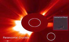 Giant Alien Spaceship Shaped Triangular near the Sun