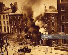 Destruction , during The Easter Rising also known as the Easter Rebellion, was an insurrection staged in Ireland during Easter Week, The Rising was mounted by Irish republicans with the aims of. Ireland 1916, Dublin Ireland, Old Pictures, Old Photos, Easter Rising, Erin Go Bragh, Free State, Dublin City, Modern History