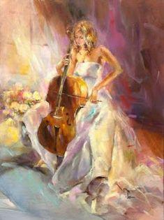 Imágenes Arte Pinturas: Cuadros Musicales Con Mujeres, Pinturas Modernas De Anna Razumovskaya