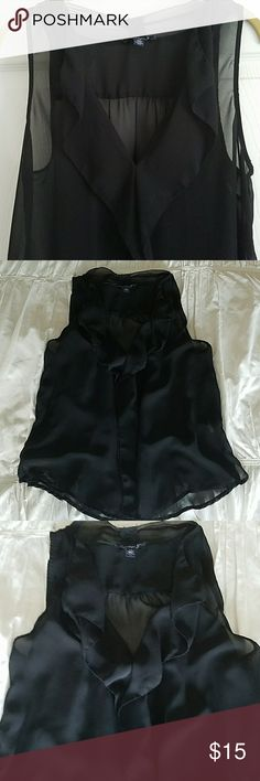 Pretty sheer ruffled AE top American Eagle sheer black ruffled shirt in like new condition. Very versatile. Can be dressed up or down. American Eagle Outfitters Tops