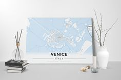 Gallery Wrapped Map Canvas of Venice Italy - Modern Ski Map - Venice Map Art