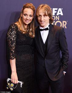 Coordinated couple:Luka Modrić and his wife of five years Vanja Bosnić both rocked black ...