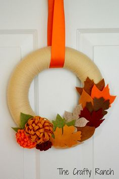 Fall Leaves and Mums Yarn Wreath 8 inches by lorange26 on Etsy