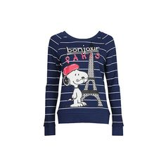 Striped Parisian Snoopy Pullover ($20) ❤ liked on Polyvore featuring tops, sweaters, shirts, blusas, long sleeve sweaters, pullover sweater, forever 21 shirts, blue shirt and long sleeve shirts