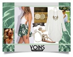 """""""Yoins: Plunge V-Neck Strap Back Lace Romper"""" by cdshep ❤ liked on Polyvore featuring Natural Curiosities, Carole, Boho Gal, Minnetonka, Ray-Ban and Lucky Brand"""