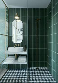 salle de bain style art deco graphic mix and match Bad Inspiration, Bathroom Inspiration, Bathroom Design Small, Bathroom Interior Design, Bathroom Designs, Bathroom Ideas, Shower Ideas, Art Deco Bathroom, Bathroom Vanities