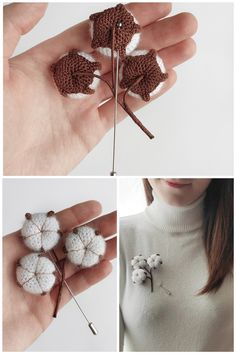 Crochet Fall, Cute Crochet, Crochet Toys, Flower Patterns, Crochet Patterns, Crochet Brooch, Crochet Flowers, Yarn Flowers, Crochet Accessories
