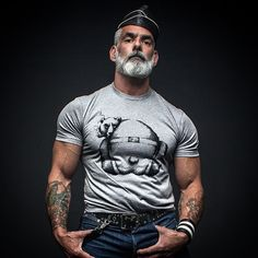 Hairy Muscle Bear. Beards. Going Gray. Men. Ink. Photography.