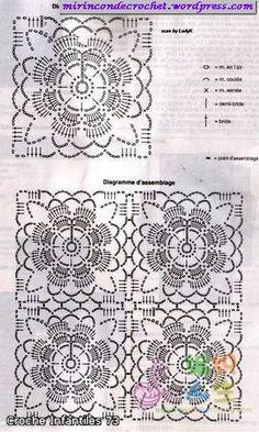 Blusa de mangas amplias con unión de motivos   Mi Rincon de Crochet