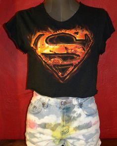 Superman Super Hero Upcycled Shredded  TShirt by KillWalmart, $15.00