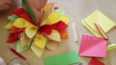 Flower colored paper - handmade paper cones.