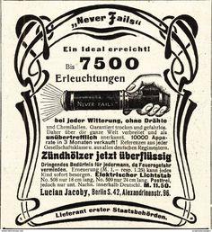 Werbung - Original-Werbung/ Anzeige 1902 - NEVER FAIL TASCHENLAMPE / LUCIAN JACOBY - BERLIN - ca. 90 x 100 mm