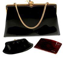 Details About Vintage 1950 S Coblentz Black Patent Leather Party Tail Wedding Evening Bag