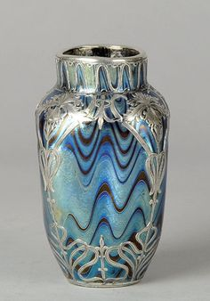 ❤ - Loetz | Blue Silvered Vase - 1900.