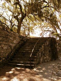 Stairs on River Street, Savannah GA.