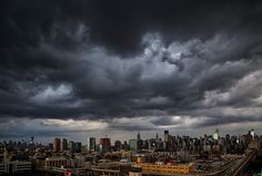 Ominous, stormy skies over #NYC tonight. My beautiful city