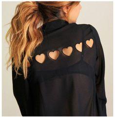 Sheer heart cut-out shirt