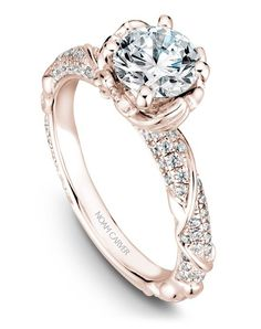 Rose gold vintage solitaire engagement ring with floral design | Noam Carver B081-02RS-100A | http://knot.ly/649981qxB