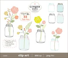 Mason Jar clip art Flowers clipart pink rose flower  instant download - 33 digital images (CA250) scrapbook printable paper goods photo cards photographer wedding invitation royalty free floral bouquet rustic flower invitation invite save the date scrapbooking GingerWorld 4.95 USD