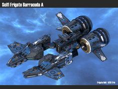 asset Spaceship Frigate Barracuda , available in OBJ, FBX, UNITYPACKAGE, ready for animation and other projects