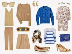 travel capsule wardrobe in beige blue and white