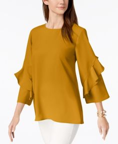 business attire Ruffled-Sleeve Zip-Back Top, Created for Macy's Business Professional Attire, Business Outfits Women, Business Casual Attire, Business Fashion, Stylish Dress Designs, Sleeves Designs For Dresses, Camisa Formal, Mode Hijab, Ruffle Sleeve