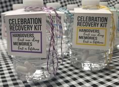 Hangover Kit! A really fun addition to your birthday party, wedding, bachelorette party, bachelor party, rehearsal dinner, day after brunch, divorce party or any celebration where a hangover is a given! You will receive a water bottle tag, twine for each water bottle, tiny zipper bags to add the Advil,