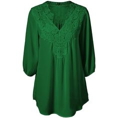 Plus Size Sweet Crochet Spliced Blouse ($11) ❤ liked on Polyvore featuring tops, blouses, green top, green blouse, plus size blouses, womens plus tops and crochet top