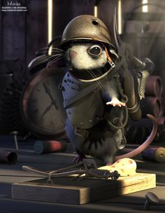 Sapper Rat 3D Artwork - Another unique artwork created by Poland artist Kamil Kuklo, using his favorite 3D tool, Blender.
