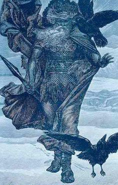 "Hugin and Munin- In old Norse, Huginn means, ""Thought"" and Muninn means, ""Desire"".  These names belong to two ravens in Norse mythology who are shamanic helping spirits of the god Odin."
