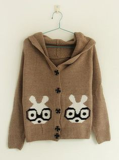 Glasses Rabbit Pattern Sweaters Brown$40.00