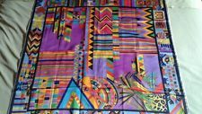 "Vintage Nini Ferrucci Aztec Silk Scarf Pillow Square 36"" X 36"" Gorgeous Rare"