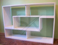 #biblioteca, 2 ¨L¨ diseño especial en blanco con divisiones. #mueblelcd, #muebletv, #homedecor