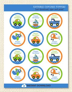 Transportation Printable Cupcake Toppers by LittlePrintsParties