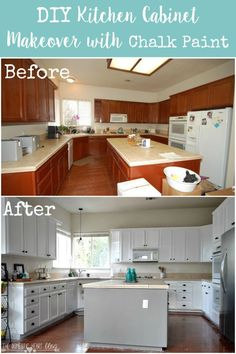 Kitchen Island And Chalk Paint Kitchen Cabinets Before And After Simple Chalk Painting Kitchen Cabinets Decorating Inspiration