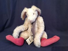 """Lori Ann Baker Mohair Socks Hare 1996 Rabbit Bunny. A wonderful bunny for your collection! Super cute with red socks and checkered scarf. 11"""" in sitting position. EXCELLENT = Item shows very little wear, may have surface scratches or blemishes. 