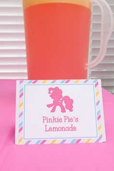My Little Pony Birthday Party Food Idea- Under the 'My Little Pony Party Food & Drinks' section, find lots of food tag ideas. Flitterheart's Heart Shaped Sandwiches, Pinkie Pie's Pink Lemonade, etc. My Little Pony Party, Cumple My Little Pony, My Lil Pony, Fourth Birthday, 6th Birthday Parties, Birthday Fun, Birthday Ideas, Birthday Drinks, Husband Birthday