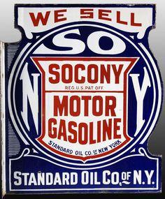 Flanged We Sell die-cut sign for Socony Motor Gasoline or Standard Oil Co. of N.Y.