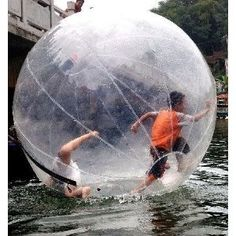 Oh, fun. A  hamster ball for kids. Wonder if they could make it across the lake if I got them one...lol