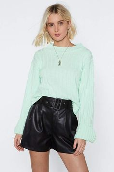 Keep knit up. The You're Getting Warmer Sweater comes in a ribbed knit and features a relaxed silhouette, mock neckline, and wide sleeves with turn-up cuffs. Ribbed Sweater, Cropped Sweater, Nice Dresses, Short Dresses, How To Get Warm, Warm Sweaters, Leather Shorts, Sweater Shop, Pop Fashion